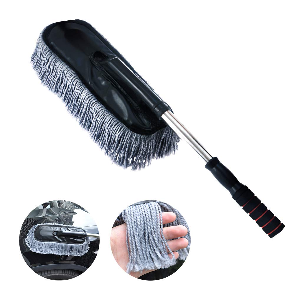 Vozada Microfiber Car Duster with Extended Handle for Exterior and Interior, 15.7 Inches No Scratch Telescopic Cleaning Brush for Home Office Auto Motorcycle Truck (Grey)