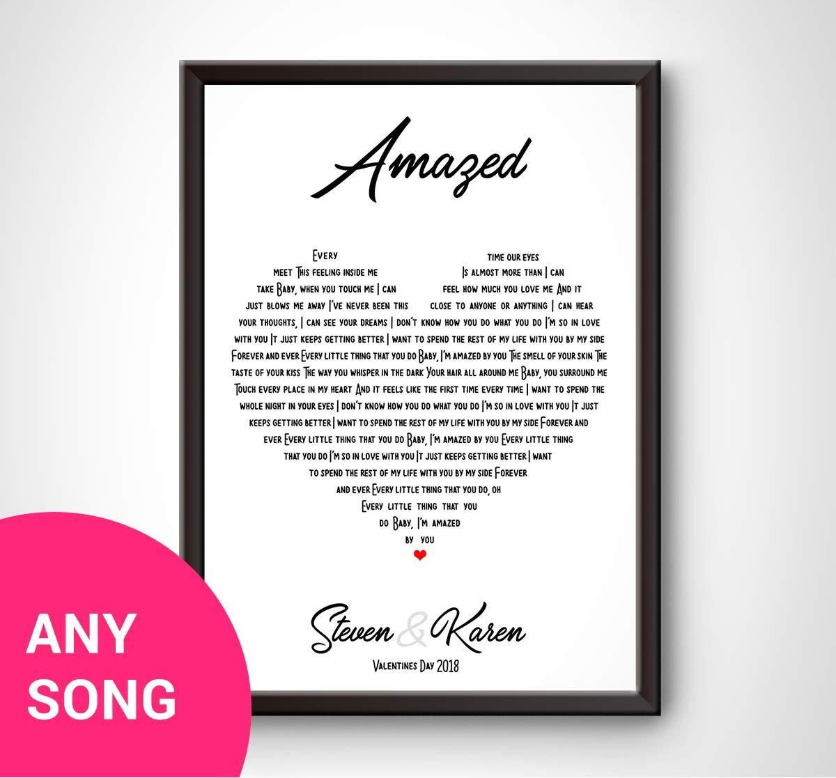 b14f046770c PERSONALISED Song Lyrics Wall Art Print - ANY SONG - HEART - Gift idea for  wedding