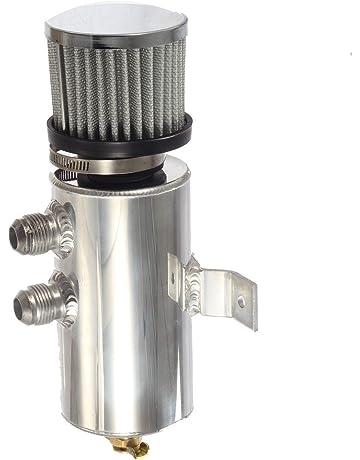 Vincos Universal Aluminum Engine Brushed Baffled Oil Catch Can Kit Coolant Overflow Tank Reservoir 750ML w
