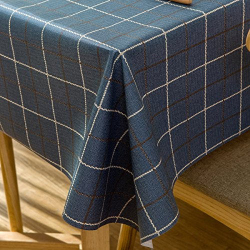 Vinyl Oilcloth Tablecloth for Rectangle Tables Wipeable Oil-Proof Waterproof PVC Tablecloth Plaid 54 x 84 (Plaid Desk)