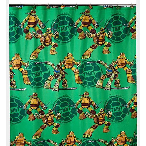 Teenage Mutant Ninja Turtles Shower Curtain, Hooks, Bath Towel, Wastebasket, and Bath Rug by Franco