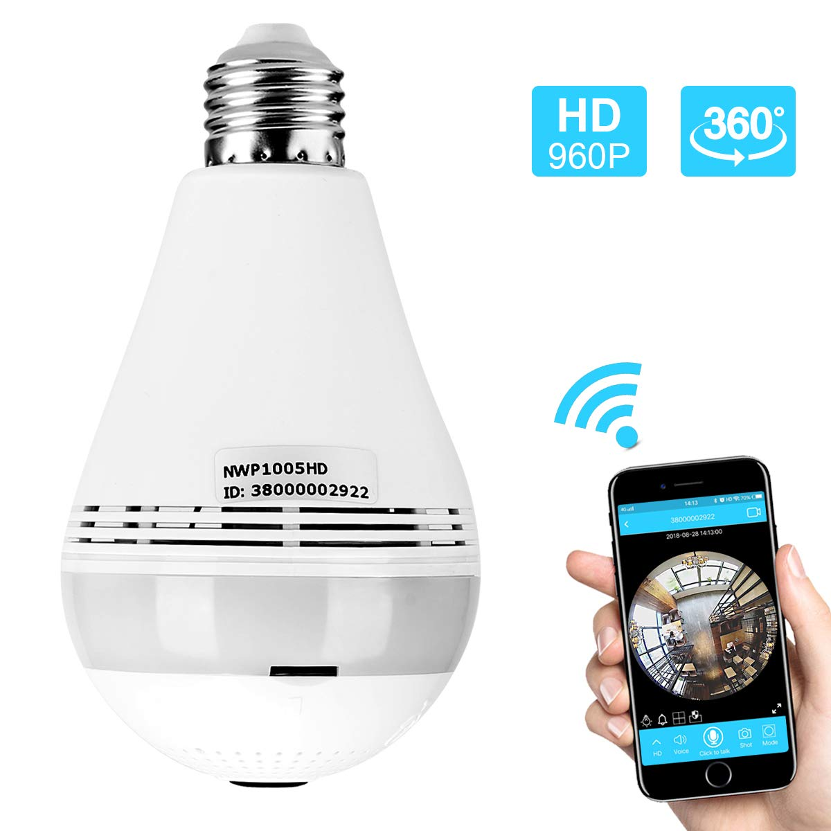 Skymee WiFi Light Bulb Camera Night Vision VR Panoramic Wireless Outdoor Security Camera Bulb with 360 Degree Fisheye Lens Wireless Remote Home Surveillance System for Baby Pet Monitor by iOS Android by SKYMEE