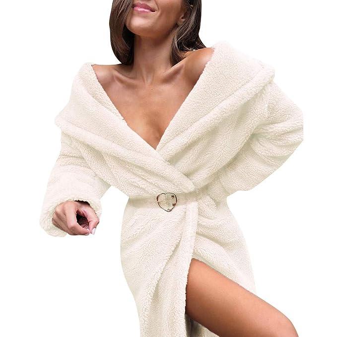Linlink Invierno de Las Mujeres Mantener Las Prendas de Vestir Abrigo Suelto Gran Collar de Piel sintética Abrigo: Amazon.es: Ropa y accesorios