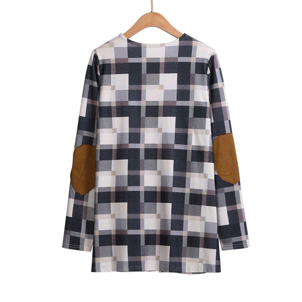 Pervobs Blouses, Big Promotion! Women Ladies Casual Plaid Long Sleeve Loose Shirts Cover Ups Cardigan Jacket Coat Outwear (XL, Khaki) by Pervobs Women Long-Sleeve Shirts (Image #5)