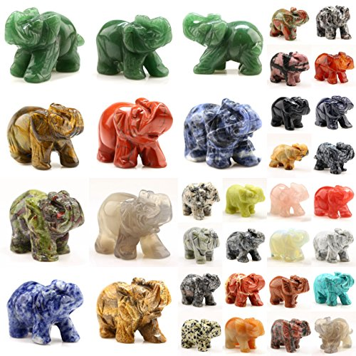 Small Elephant Figurine - Carved Healing Crystals Gemstones Elephant Statue Figurine Collectible Decor 1.5 inches (Mix 12pcs)