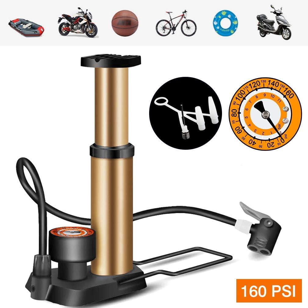 Mini bomba de bicicleta compacta de alta presión y bomba de neumático portátil para bicicleta con medidor preciso Presta/válvula británica de 80 PSI para carretera, bicicleta BMX de montaña, motocicletas, juguetes, bolas: