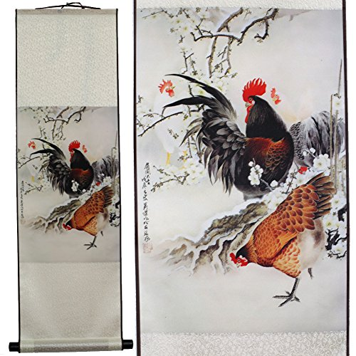 SweetHome Asian Silk Scroll & Picture Scroll & Wall Scroll Calligraphy Hanging Artwork (Rooster and Hen) (Rooster Wall Hanging)