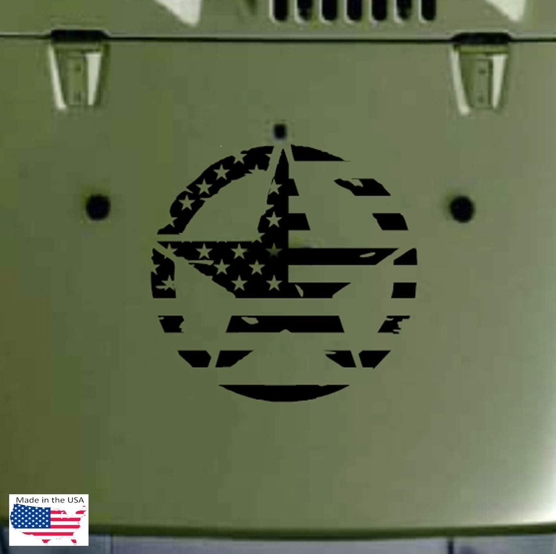 Decal Army Jeep Distressed Star Vinyl Sticker SILVER