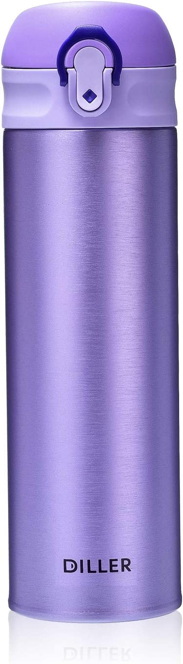 DILLER Vacuum Insulated Water Bottle,Stainless Steel Thermos Coffee Travel Mug BPA-Free Thermos Flask ,Keeps Cold 24H, Hot 12H,17 oz (purple)