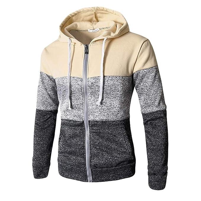 4e64c3a8c Baijiaye Men Long Sleeve Hoodie Jacket Warm Full Zip Hoodies with Pocket  Cardigan Hooded Sweatshirts Patchwork Color: Amazon.co.uk: Clothing