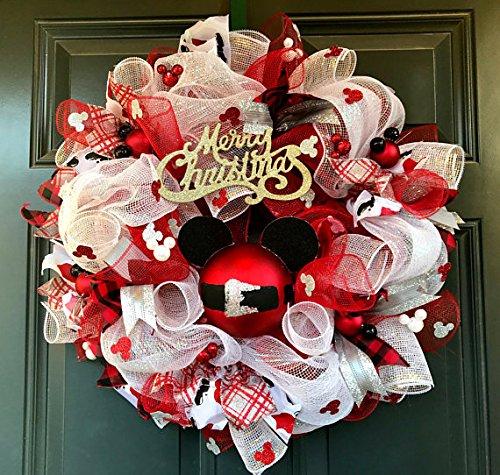 mickey mouse christmas wreath christmas wreath mickey wreath mickey christmas whimsical christmas - Mickey Mouse Christmas Wreath