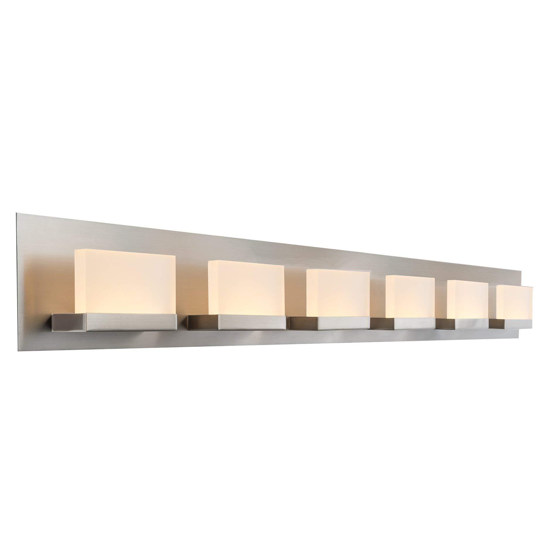 Kira Home Everett 48'' Modern 6-Light 38W Integrated LED (360W eq.) Bathroom/Vanity Light, Rectangular Acrylic Lenses, Energy Efficient, Eco-Friendly, 3000k Warm White Light, Brushed Nickel Finish