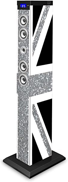 BigBen TW9GBGLITTER - Torre de Sonido Bluetooth UK Brillante (2.1, 2x15W RMS + Subwoofer 30W RMS)