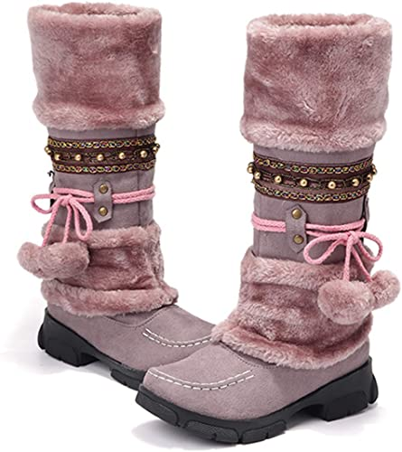 Womens POM POM High Heel Pull On Winter Fur Top Riding Knee Boots Sweet Shoes