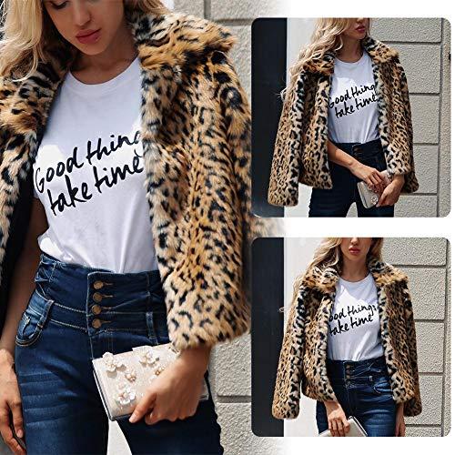 Fausse Longues Fourrure Semaine La Mode Fille Outwear L Manches dfils Cadeau Hiver Chaude Amour pour Court Manteau Lopard Femme des v5qRa