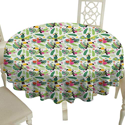 - Cranekey Gingham Round Tablecloth 60 Inch Parrot,Tropical Island Jungle with Flora and Fauna Birds Toucan with Green Leaves Flowers Multicolor Great for,Holiday Dinner & More