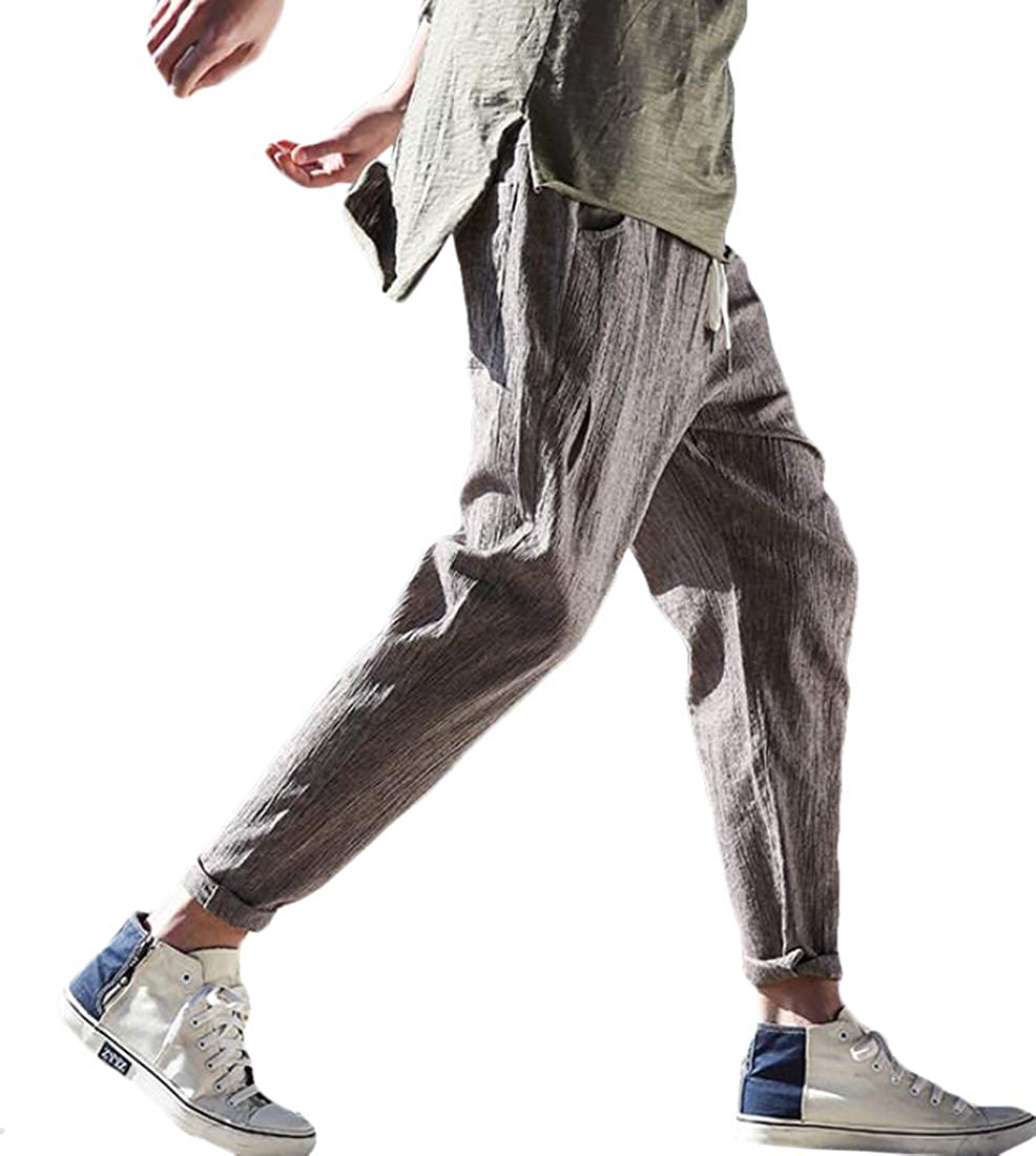 XiaoTianXinMen XTX Mens Basic Solid Cotton Linen Loose Fit Yoga Harem Pants