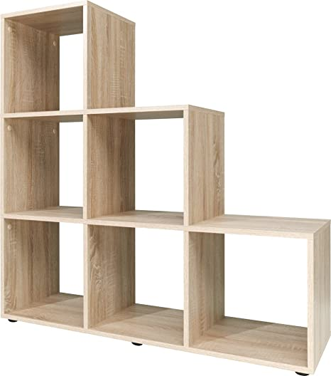 Bookcase Display Cupboard Stair Wooden Storage Shelf Unit White Oak Cube    Colour Choice