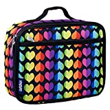 Wildkin Lunch Box, Lunch Box, Insulated, Moisture Resistant, and Easy to Clean with Helpful Extras for Quick and Simple Organization, Ages 3+, Perfect for Kids or On-The-Go Parents – Rainbow Hearts