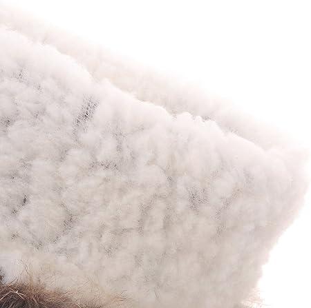 Botas de Nieve Mujer Cómodo Cuña Borlas Invierno Calientes Piel de conejo Botas de Media Caña De BIGTREE