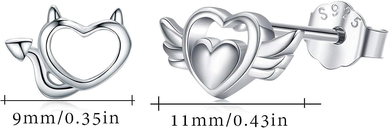 Boucles doreilles en Forme Ange et Diable Argent Sterling 925 Filles Petites Boucles doreilles avec Bo/îte-cadeau pour les Femmes Filles
