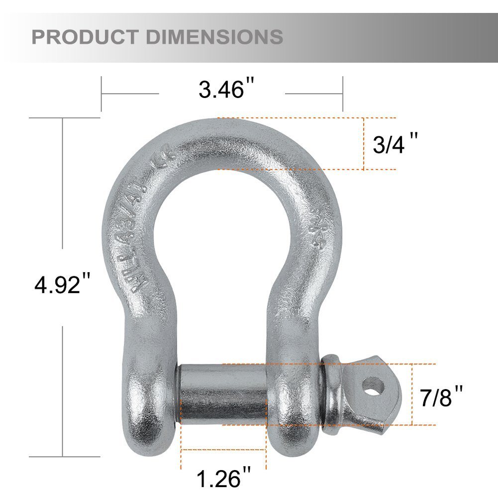 LEDKINGDOMUS 3/4'' D Ring Shackles Set 4.75 Ton (9,500 lb) Heavy Duty D Ring with 7/8'' Pin for Vehicle Recovery, Towing, Compatible for Jeep SUV ATV Trucks, Sliver by LEDKINGDOMUS (Image #3)