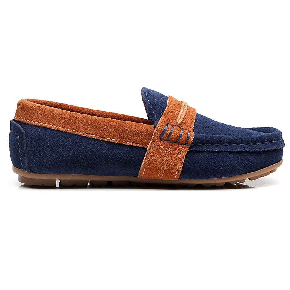 Shenn Boys Slip-On Mixed Color Dress Suede Leather Loafers Shoes 82215C