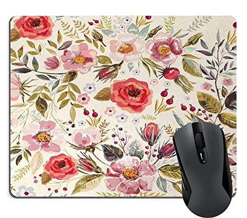 Vintage Mouse - Wknoon Shabby Chic Floral Mouse Pad Watercolor Abstract Vintage Spring Poppies Flowers Roses Buds Leaves Romantic Print