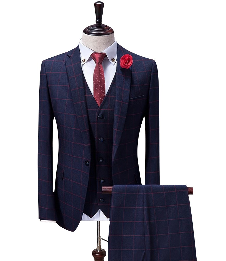 FOLOBE Mens Plaid 3-Piece Suit Single Breasted One Button Business Jacket, Red