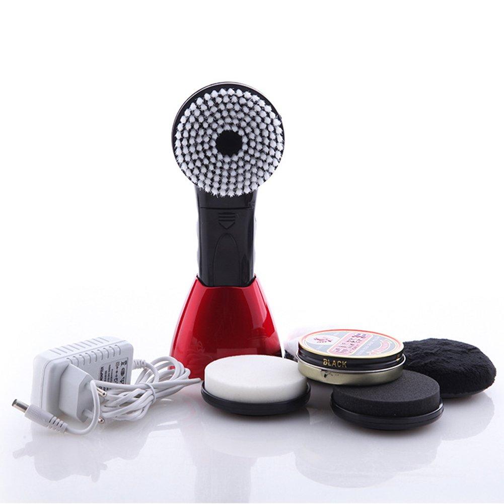 Fashionwu Portable Electric Shoe Brush Handheld Mini Shoe Polisher Red