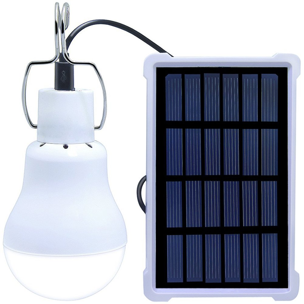 V.one Rechargeable LED Lights Solar Panel 1600mAh 3.7V 150LM Portable Solar Powered LED Bulb for Home Corridor Outdoor Hiking Fishing Emergency Camping Tent Shed