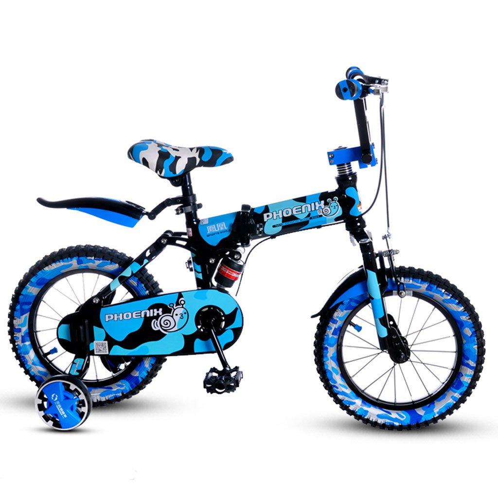 子供の折りたたみ自転車14インチの男の子の自転車3-4歳の女の子のベビーカーの子供たちのマウンテンバイクブルー B07DVCN1W5