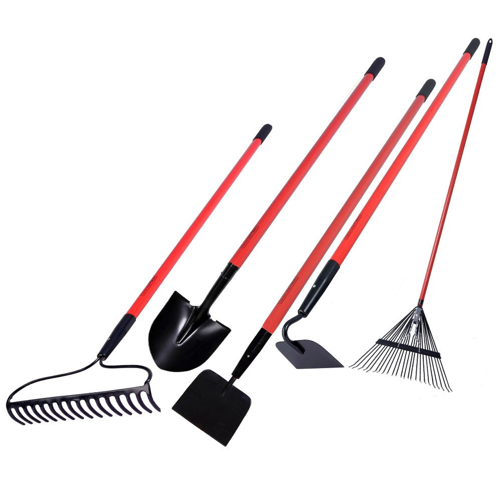 5 Piece Garden Tools Set Larn Yard Garage Long Handled Shovel Hoe Bow Poly Rake