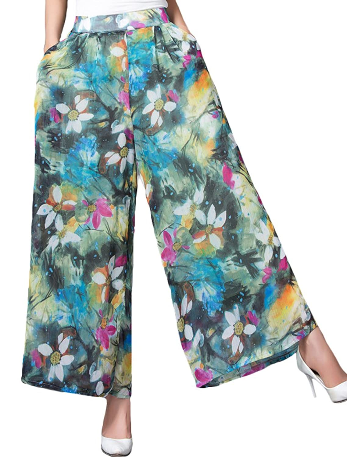 Vintage High Waisted Trousers, Sailor Pants, Jeans Minibee Womens High Waist Chiffon Wide Leg Floral Printed Palazzo Pants $25.00 AT vintagedancer.com