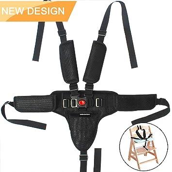 Blanco arn/és de 5 puntos,arn/és universal para silla alta,Cintur/ón de Seguridad del Beb/é,Arn/és Silla Beb/é 5 Puntos Cintur/ón
