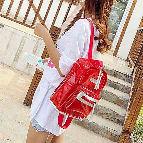 Red Prosperveil PVC Girls Schoolbags Women Students Clear Backpacks Bags Creative Shoulder HHqaUAnvx