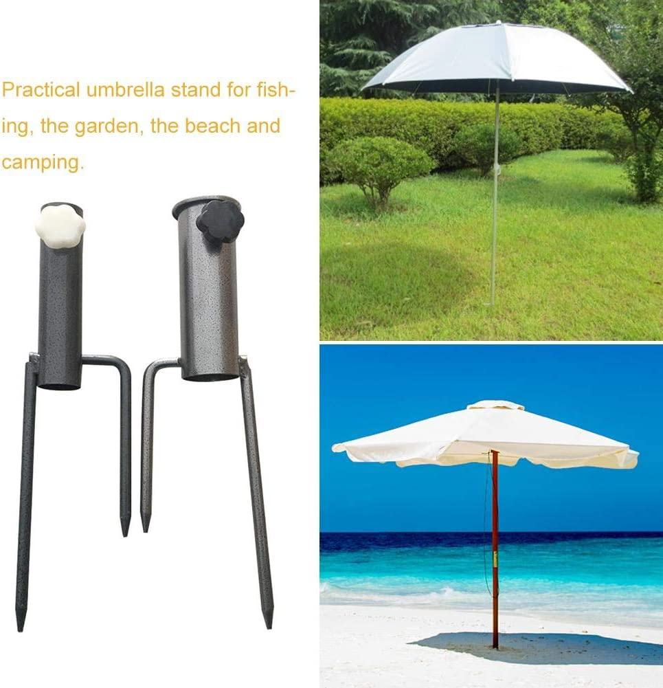 Sunronal Fishing Umbrella Ground Spike Holder Steel Stand for Fishing Camping