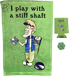 Giggle Golf I Play with A Stiff Shaft Golf Towel, Poker Chip, and Can Cooler | Funny Golf Towel