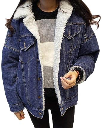 8864f4cdd0e Femme Outerwear Automne Hiver Velours Épais Jean Jacken Fashion Large  Désinvolte Branché Hipster Vêtements Blouson Manches