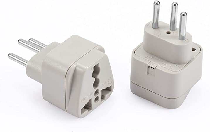 Switzerland Grounded 2 Pack Travel Universal Plug Adapter Type J for Swiss