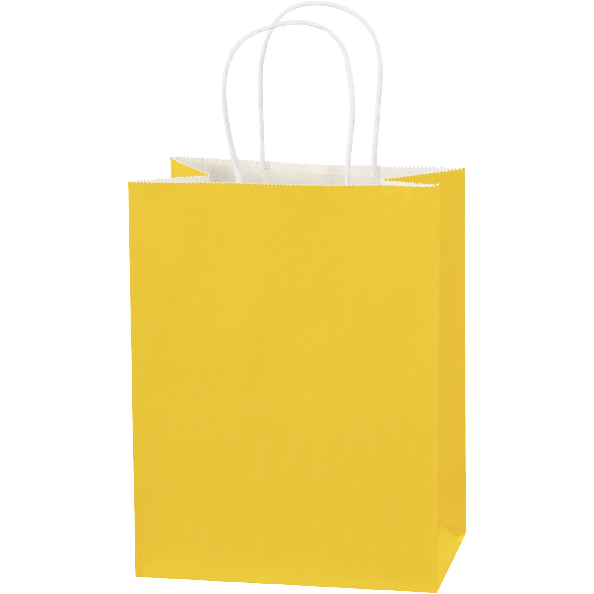Tinted Paper Shopping Bags, 8'' x 4 1/2'' x 10 1/4'', Buttercup, 250/Case