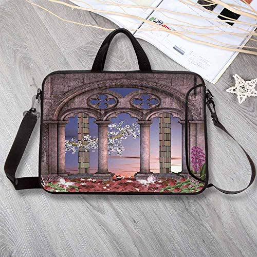 Gothic Lightweight Neoprene Laptop Bag,Ancient Colonnade in Secret Garden with Flowers at Sunset Enchanted Forest Laptop Bag for Laptop Tablet PC,13.8