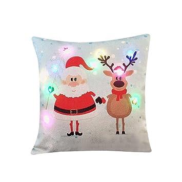 Gaddrt Weihnachten LED Beleuchtung Blinken Kissenbezug Weihnachtsbaum  Weihnachtsmann Leinen Bettwäsche Malerei Throw Kissenbezug Kopfkissen  Sofakissen Sofa