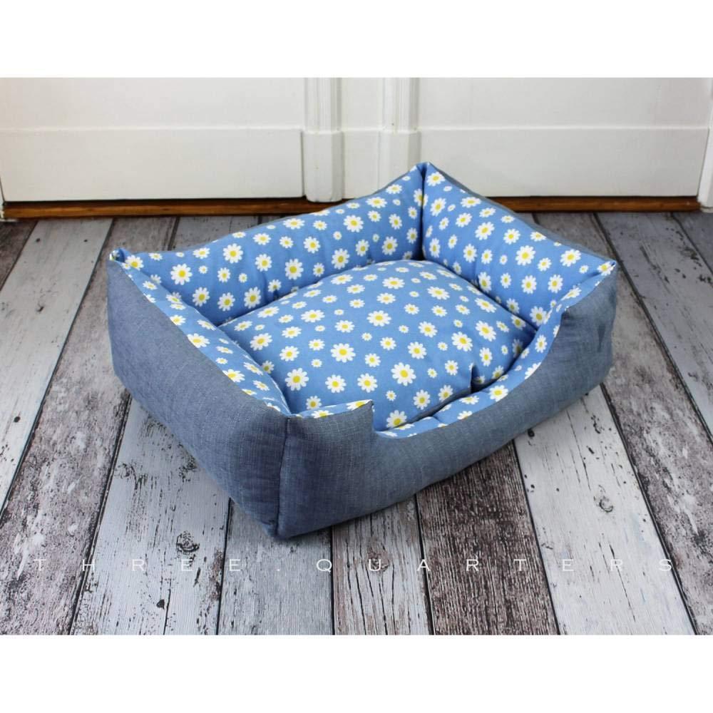 Kissen Baumwolle Schlafplatz gem/ütlich kuschelig Blumen Hund Hundekissen blau Haustier Hundebett Margeriten Katze weich