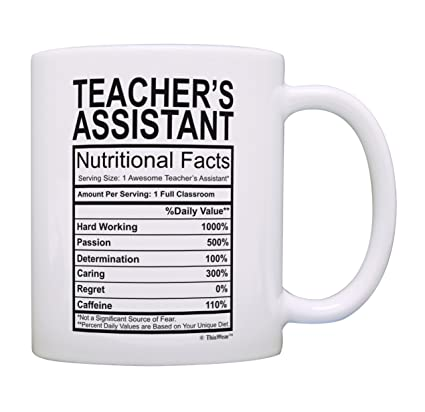 Amazon Best Teacher Gift Teachers Assistant Nutritional Facts For Appreciation Women Coffee Mug Tea Cup White Kitchen Dining