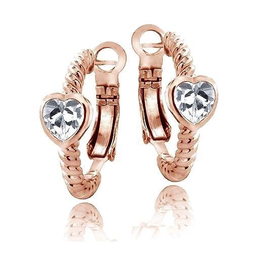 Tono de oro rosa zafiro blanco creado camarón sin embrague Pendientes del corazón: Royal Design: Amazon.es: Joyería