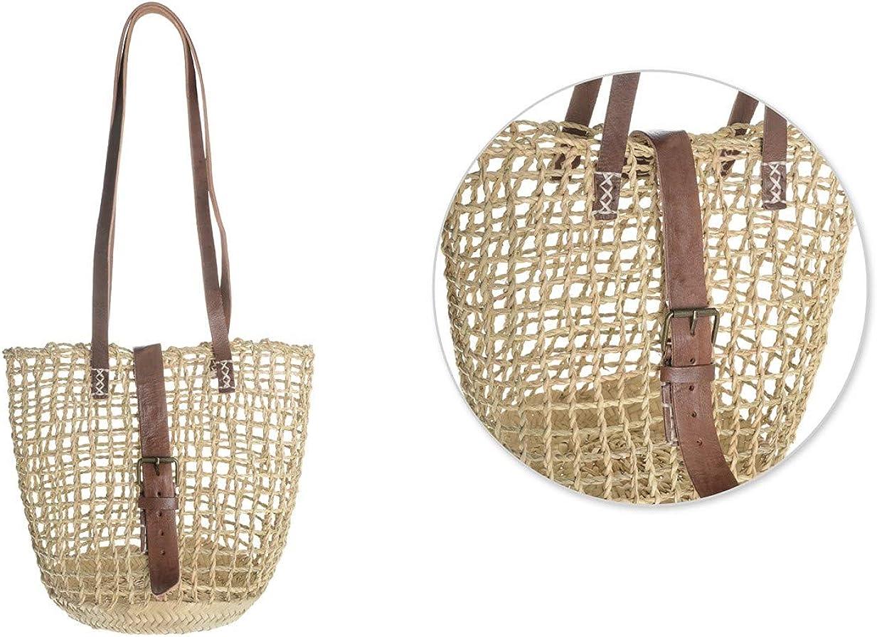 Afrikan Bags - Bolso Capazo de Palma Entorchada | Bolso de Paja de Base Oval con Asa Bandolera y Hebilla - 33 x 20 x 28 cm