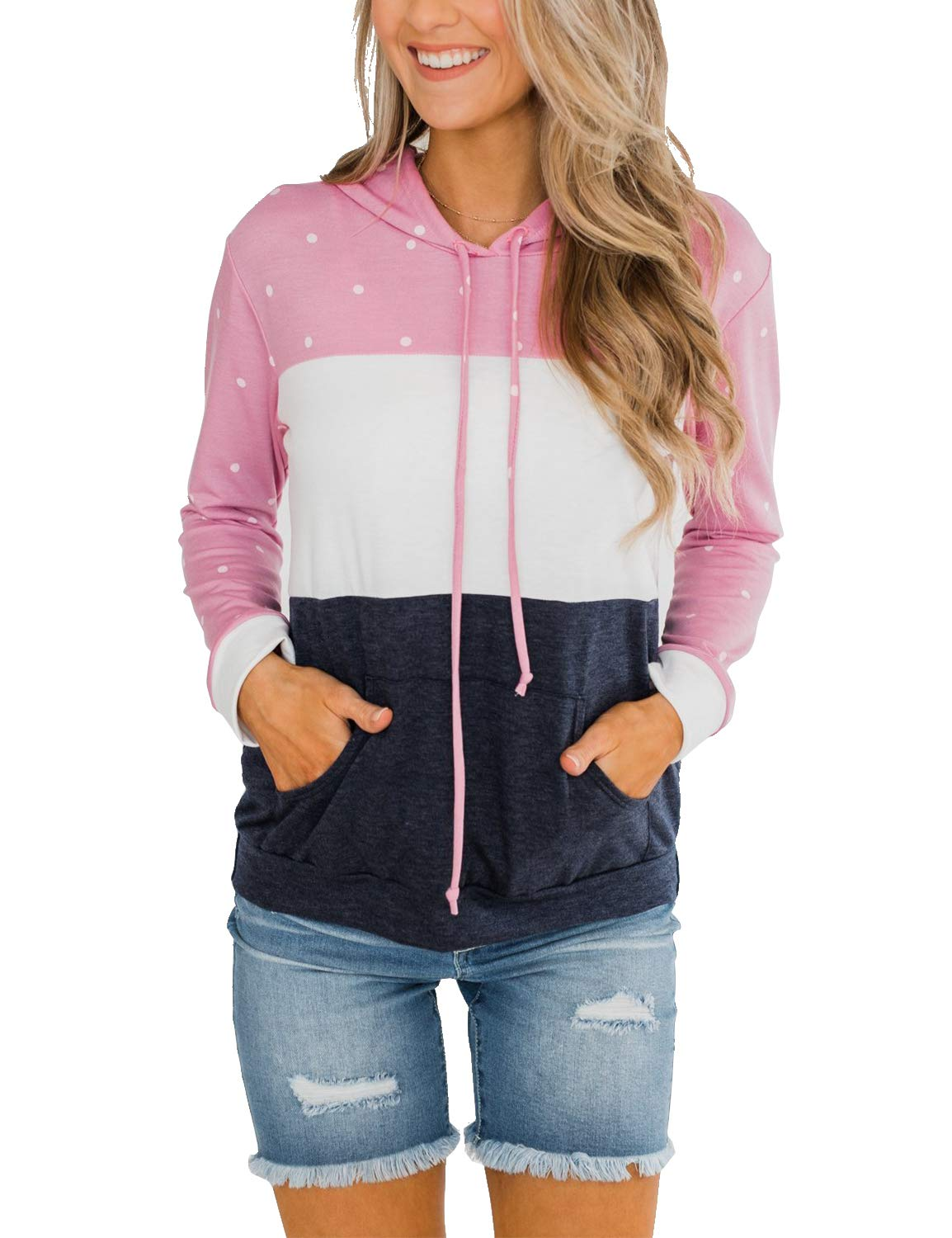 BMJL Women's Casual Hoodie Sweatershirt Color Block Long Sleeve Pullover with Pocket