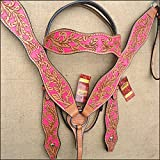 HILASON WESTERN LEATHER HORSE BRIDLE HEADSTALL BREAST COLLAR TAN PINK HAND PAINT
