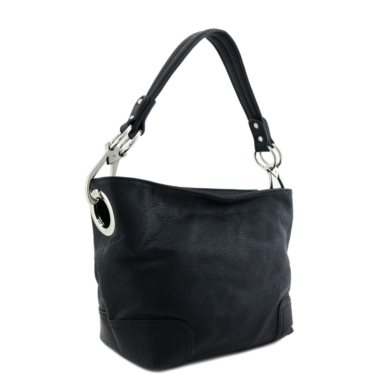 Small Hobo Shoulder Bag with Snap Hook Hardware Black